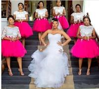 Más el tamaño de vestidos de dama de África joya corto mangas a la sisa con encaje apliques huésped de la boda Vestidos trasera de la cremallera hasta la rodilla vestido de fiesta