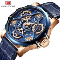 MINI FOCO Mens Relógios Top Marca do estilo do esporte projeto luxuoso relógio de quartzo Men Blue Leather Strap 30M impermeável Relogio Masculino T200620