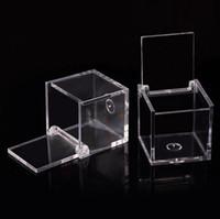 200pcs Food Grade Temizle Plastik Kare Kutu Şeker Kutusu Şeffaf Hediye Paketleme Vaka Düğün Favor eşyalar RRA2070 çevirin