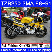كيت ل Yamaha TZR250RR TZR-250 TZR 250 88 89 90 91 Body 244HM.44 TZR250 RS RR YPVS 3MA TZR250 TOP أصفر أسود 1988 1989 1990 1991 Fairing