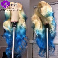 Ombre Blue Perücke Hitzebeständige Faser Haar Synthetische Lace Front Perücke 180% Dichte Glueless Natürliche Welle Perücken Für Schwarze Frauen