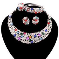 Trendy Direct Selling Jewelry Sets Women Necklace For Party Wedding Boho Crystal Statement Necklace Earrings Bracelet Ring