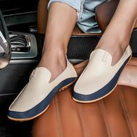 2019 العلامة التجارية السببية أحذية الرجال المتسكعون الجلود الأخفاف مريحة الذكور الشقق القيادة أحذية عالية الجودة أحذية كبيرة الحجم 36-47
