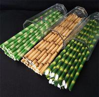 Biodegradable Desapusable Papel de bambú Paja Eco-Friendly 25pcs A Lot MUCHE Fiesta de boda Papeles de uso Beberingware en Promotion