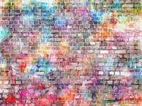 Colorato muro di mattoni vinile fondali fotografia Graffiti neonato Photo Booth sfondi per bambini Festa di compleanno in Studio puntelli
