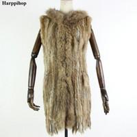 Harppihop Kürk Yeni Doğal Kürk Yelek Hakiki Tavşan Kürk Örme Jile Kapüşonlu Uzun Ceket Ceketler Ile Kadın Kış V-211-05MX191009