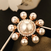 New exaggerated pearl luxury female brooch with zircon- plate...