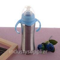 8oz copos de sippy canecas para crianças crianças crianças alimentando o balão de vácuo de aço inoxidável com alça dupla garrafas de água de treinamento infantil em estoque