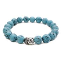 10 mm Mode plus récent Tiger Eye Perles Bouddha Hommes Bracelets prière de guérison méditation Chakra Yoga Turquoise Natuarl Pierre Femmes Bijoux JFJ796