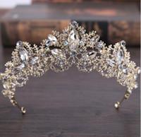 바로크 크라운 새로운 유럽과 미국의 패션 크리스탈 결혼식 신부 럭셔리 모자 크라운 웨딩 액세서리 신부 액세서리