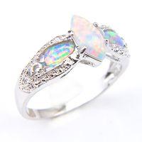 New6 pc / lotto regalo dei monili vacanza unica White Opal gemme Russia argento sterling 925 placcato festa di nozze Opal per le donne Anello