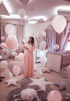 선시 폰 플러스 크기 블러스 핑크 이슬람 긴 소매 이브닝 드레스 컷 사이드 긴 파티 댄스 출산 임신 드레스 E001