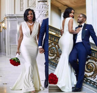 Simple African Mermaid Wedding Dresses Deep V Neck Backless ...