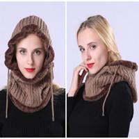 Pasamontañas sombrero de las mujeres sombrero hecho con la bufanda del calentador del cuello Sombreros de invierno para los hombres Las mujeres Skullies Gorros Casquillo de lana caliente de 6 colores DBC VT0883