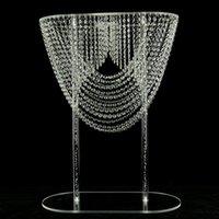 Brillante óvalo de cristal acrílico alto de bodas Centro de mesa Pilar de la flor de la torta soporte de pie para la decoración de la boda