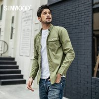 SIMWOOD New 2019 Spring Casual Shirts Men Slim 100% Cotton S...
