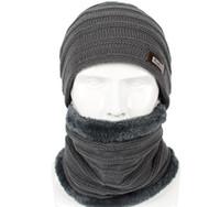 Горячий продавая 2pcs лыжную шапочку и шарф Холодная Теплая кожа шлема зимы Для женщин Для мужчин Вязаные Hat Bonnet Теплый Cap Skullies Шапочки