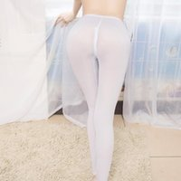 Sexy Ice Silk Transparent One- piece Leggings See Through Pen...