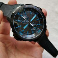 고품질의 새로운 패션 블랙 쿼츠 남자 시계 크로노 그래프 손목 시계 고무 스트랩 스포츠 시계 남자 시계 최고의 선물