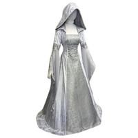 테마 의상 중세 여성 르네상스 Hight 허리 코르셋 레트로 고딕 후드 드레스 코스프레 긴 소매 겉옷