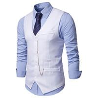 Mens Casual Gilet Gilet 2019 Fashion Chain Design Nightclub Suit Gilet Uomo Slim monopetto Gilet Chalecos Para Hombre
