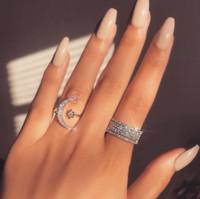Gioielli di modo classico 925 sterling silver sterling pavy bianco chiaro 5a zirconi cubici apertura donne regolabili da sposa stella stella luna ring regalo