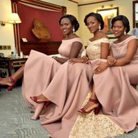 Robe de demoiselle d'honneur sirène élégante rose nigérian rose 2019 à encolure dégagée demoiselle d'honneur robes de mariée soirée d'invitation à porter un b