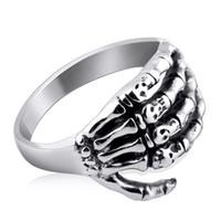 Anneau de crâne en acier inoxydable Goth Biker Punk Rocker Squelette Squelette Bandes d'enveloppement de la main pour les bijoux de mode de l'adolescence masculine