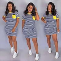 Womens Clubwear-Feiertags-Kleid 2019-Sommer-Herbst-Strand-Kleid Shorts-Streifen-Minikleid-Paket-Hüfte dünne beiläufige Mädchen