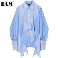 [EAM] Las mujeres rayas empalmado del tamaño grande de la blusa asimétrica Nueva solapa de manga larga Loose Fit camisa de la manera del otoño del resorte 2019 JZ687