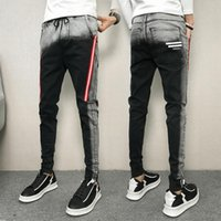Hombres Skinny Jeans Pantalones Denim Fashion Jeans Negro Invierno 2018 Hombres Slim