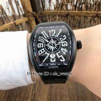 dos homens Coleção V 45 DT homens automática Yachting SC Watch PVD Case All Black Leather Strap Rubber Luxury Data Gents Relógios de Desporto