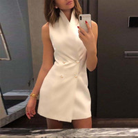 Donne Estate Calda Moda Casual elegante senza maniche Button Up a doppio petto corto Mini abiti Sexy Party Vintage Vestidos