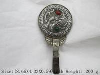 China Tibet antigo cobre dragão phoenix espelho de mão