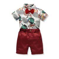 الصيف ملابس الأطفال الجديدة 2020 الفتيان مطبوعة شعار شورت شورت عارضة الاطفال الأزياء الطفل الملابس مجموعة 2 قطعة مجموعة