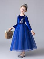 Pageant robes de fille de fleur de Royal Blue Velvet / Tulle Tea Girl robes fille princesse robes jupe enfant sur mesure 2-14 H312192