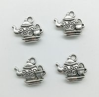 50 sztuk / partia Teapot Tybet Silver Charms Wisiorki Retro Styl Biżuteria DIY Wisiorek Dla Brelok Bransoletka Kolczyki 14 * 15mm