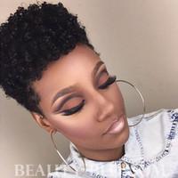 Glueless Lace Front Virgin Echthaar Perücken Volle Capless Lace Perücken Afro Verworrene Lockige Stil Mode Afroamerikaner Perücken