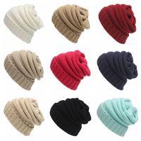 Moda Kadın Beanie Şapka Düz Renk Kış Sıcak Örme Şapka Açık Kadın Skullies Tığ Kayak Kap TTA1687