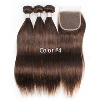 3 حزم مع إغلاق الدانتيل اللون 2 4 بني غامق حريري مستقيم الشعر حزم الخام العذراء الهندي البرازيلي بيرو الشعر البشري