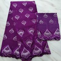 좋은 패턴 자수와 2야드와 5Yards 가장 인기있는 보라색 아프리카 코튼 패브릭 드레스 그물 레이스 세트 블라우스 BC63-6