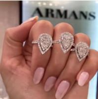 الزفاف الكلاسيكية حزام مجوهرات الجميلة 925 فضة الكمثرى قص الأبيض توباز CZ الماس الأحجار الكريمة الخلود المرأة أنثى خواتم الخطبة باند