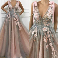 2020 New Sexy Sparkly Evening Dresses Deep V Neck 3D Appliques Sequins A Line Floor Length Prom Dresses Plus Size Formal Party Gowns