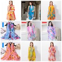 200 * 140cm Mode Foulards en soie Châle Femmes en mousseline de soie Beach Blanket serviette imprimé floral d'été Wraps Fille Sunscreen équitation écharpe GGA3376-5