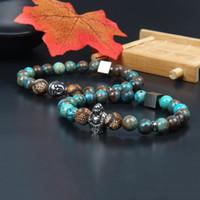 Stailess Stahlmens-Armband-Schmucksachen Großhandels10pcs / lot Silber Buddha-Armband mit 8 mm Naturstein wulstige Schmucksachen für Partei