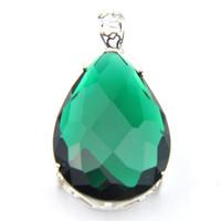 Joyería Luckyshine manera 925 plata esterlina retro madre collar de cuarzo verde Colgante envíos de regalos gratis
