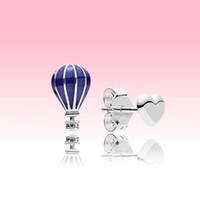 الأزرق بالون وحب القلب أقراط النساء 925 الفضة الاسترليني المجوهرات الصيفية ل باندورا الأزياء القرط مع مربع شعار الأصلي