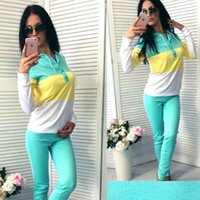 2019 camisola Pants 2 Piece Set Mulheres Treino completo manga Pullover Casual Femme Vetement Sportwear O-Neck femme conjunto