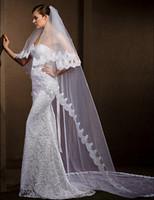 Высокое качество элегантное в наличии дизайнер мягкий тюль два слоя кружева аппликация кромки свадебные вуалии bridal слоновая слоновая слоновая кость белый собор