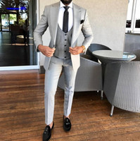 High Quality One Button Light Grey Wedding Groom Tuxedos Pea...